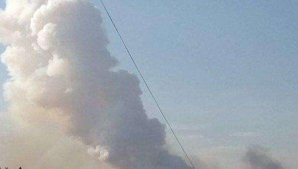 Пожар на складах Казенного завода в Донецке
