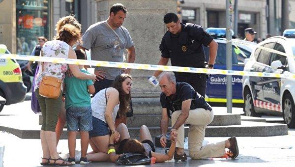 На месте теракта в Барселоне, 17 августа 2017