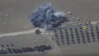 Кадры ударов ВКС РФ по отступающей автоколонне ИГ в Сирии. Видео