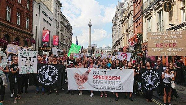 Марш веганов в Лондоне