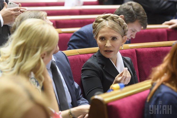 Лидер фракции Батькивщина Юлия Тимошенко во время торжественного открытия седьмой сессии Верховной Рады Украины VIII созыва, в Киеве, 5 сентября 2017 г.