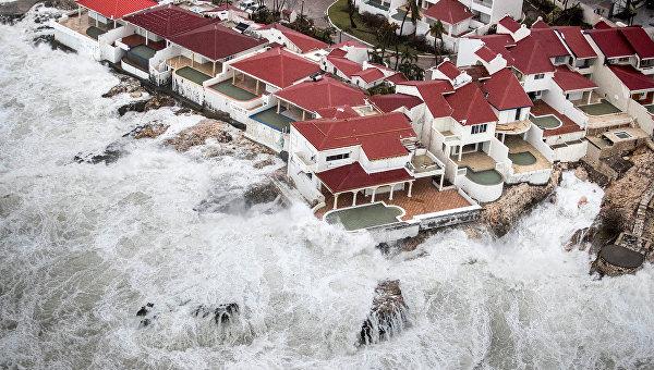 Ураган Ирма на острове Сен-Мартен в Карибском море