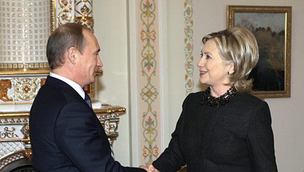 Владимир Путин и Хиллари Клинтон. Архивное фото