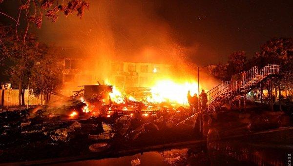 Пожар в детском лагере в Одессе