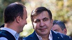Брифинг Михаила Саакашвили на улице Банковой в Киеве