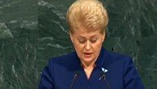 Даля Грибаускайте на Генассамблее ООН. Видео