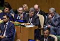 Президент Украины Петр Порошенко (в центре) на заседании Генеральной Ассамблеи ООН в Нью-Йорке