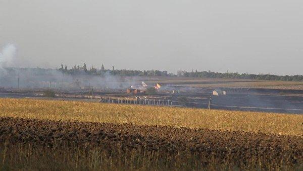 Пожар на складе боеприпасов в Донецкой области