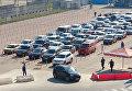 Автомобили в порту Кавказ Керченской паромной переправы. Архивное фото