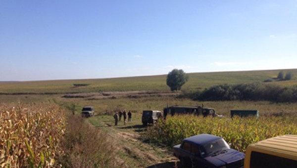 На месте падения учебно-тренировочного самолет Л-39 в Хмельницкой области, 29 сентября 2017