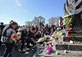 Возложение цветов к памятнику Минора в 76 годовщину расстрела в Бабином Яру в Киеве