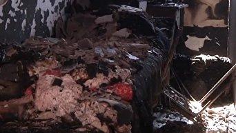 На месте пожара хостела в Запорожье. Видео