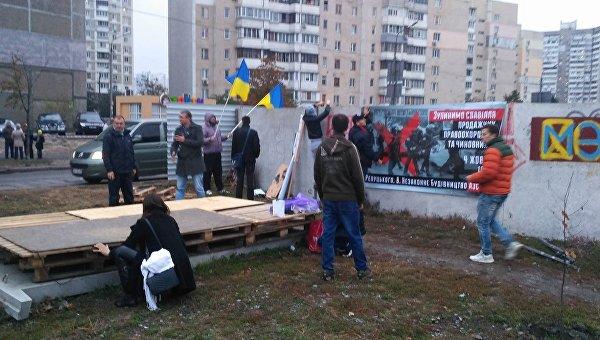 Митинг против строительства АЗС на Ревуцкого в Киеве, 4 октября 2017