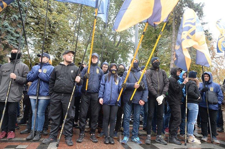 Митинг против реинтеграции Донбасса под Верховной Радой