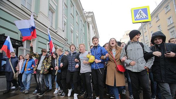 Нанесанкционированную акцию в столицеРФ вышли около 700 человек— МВД