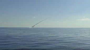 Удар по террористам ИГ в Сирии подводными лодками ЧФ РФ. Видео