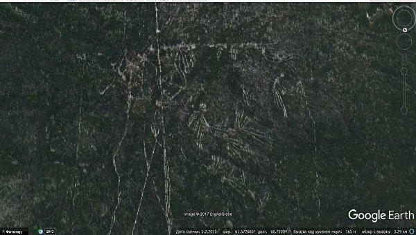 Спутниковые фотоснимки древнейшего геоглифа в Свердловской области
