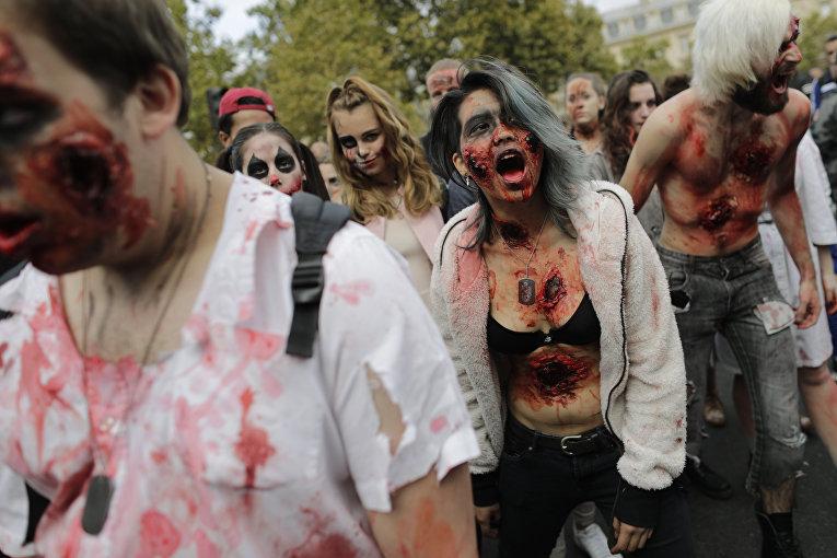 В Париже прошел Зомби-моб