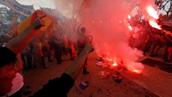 Национальный день Испании в Барселоне. Ультраправые демонстранты