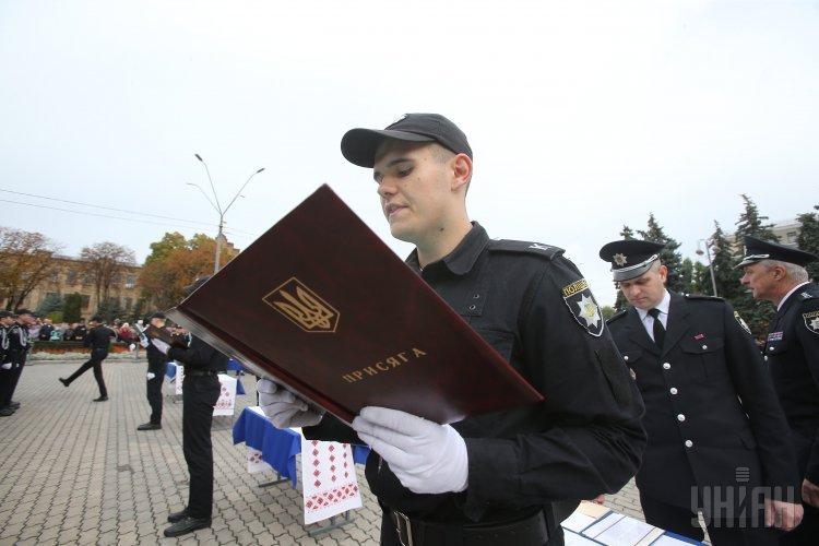 Принятие присяги курсантами первых курсов юридического лицея имени Ярослава Кондратьева Национальной академии внутренних дел, в Киеве.
