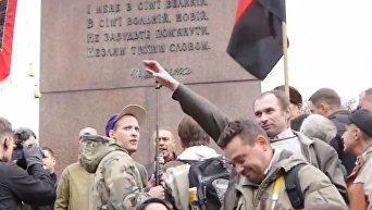 На митинге националистов в Киеве задержали мужчину за нацистское приветствие