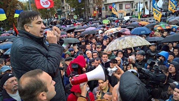 Экс-президент Грузии Михаил Саакашвили на митинге в Харькове