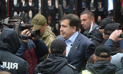 Михаила Саакашвили на митинге под Верховной Радой