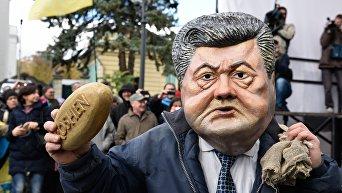 Ряженый в костюме президента Украины Петра Порошенко во время вече у здания Верховной Рады в Киеве