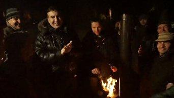 Михаил Саакашвили в палаточном городке под Верховной Радой. Видео