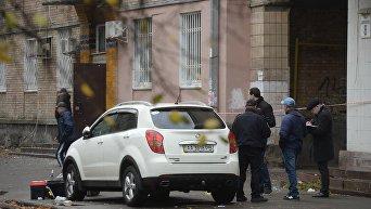 Место взрыва около офиса телеканала Эспрессо