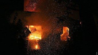 Крупный пожар в санатории Красные зори в Одессе