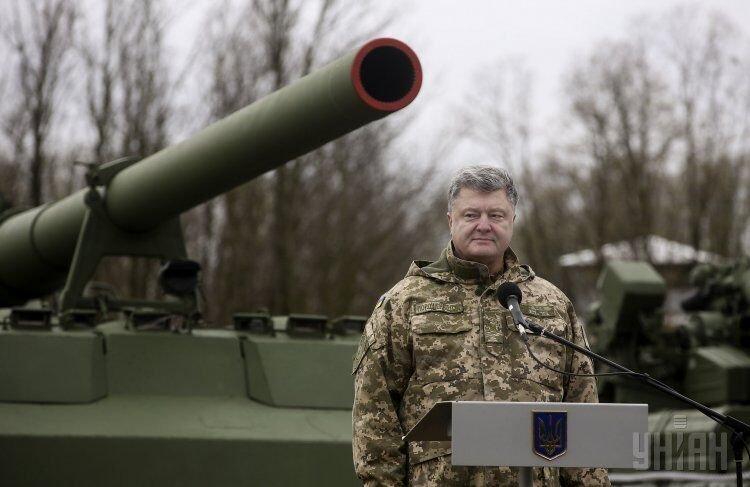 Президент Петр Порошенко на полигоне в Киевской области