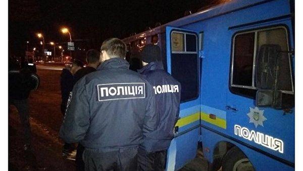 Драка болельщиков в Киеве