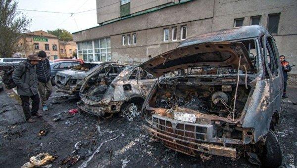 Поджог на автостоянке в центре Одессы