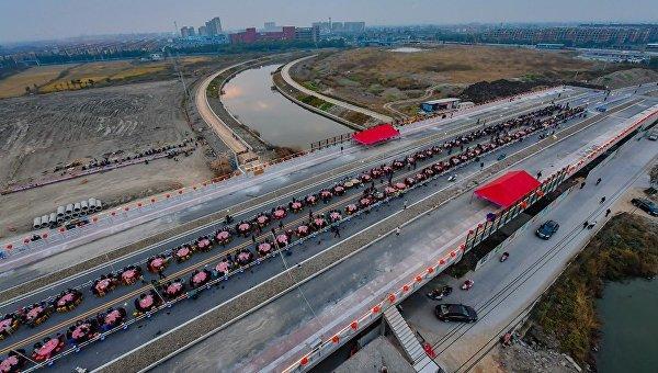 Открытие моста в китайской провинции Чжэцзян