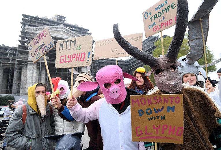 Активисты из EZLN проводят демонстрацию против американской агрохимической компании Monsanto перед Дворцом правосудия в Брюсселе