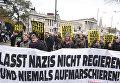 Антифашистские демонстранты во время демонстрации у стен австрийского парламента