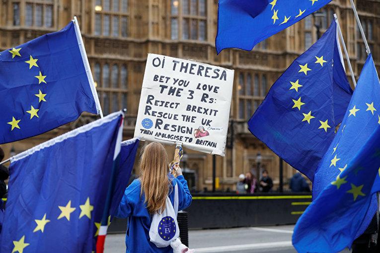 Anti-Brexit демонстранты проводят акцию протеста у здания парламента в Лондоне.