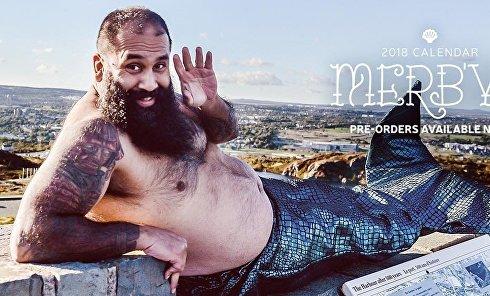 Брутальные бородачи снялись для календаря в одних русалочьих хвостах