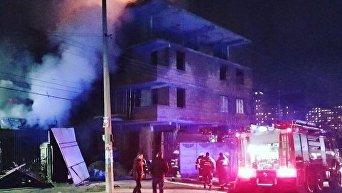Поджог на стройке в Соломенском районе Киева