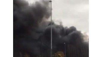 Масштабный пожар на фабрике в Бельгии