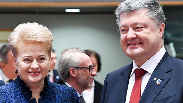 Президент Литвы Даля Грибаускайте и президент Украины Петр Порошенко в Брюсселе