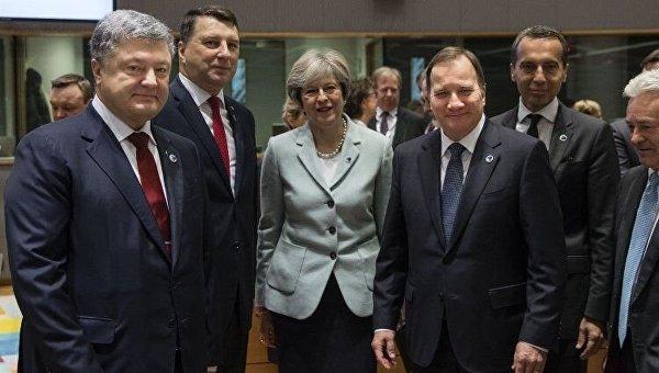 Президент Украины Петр Порошенко, президент Латвии Вейонис, премьер-министр Великобритании Тереза Мэй, премьер-министр Швеции Стефан Левен на саммите Восточного партнерства в Брюсселе