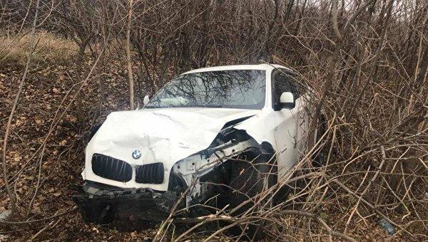 Автомобиль BMW X6, который попал в ДТП в Николаевской области