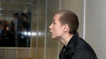 Сын народного депутата Игоря Попова, 14-летний Богдан Попов, на скамье подсудимых, во время рассмотрения ходатайства, об избрании ему меры пресечения на заседании Оболонского районного суда Киева, 29 ноября 2017 г.