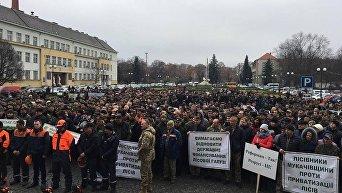 Масштабный митинг лесоводов перед Закарпатской ОГА