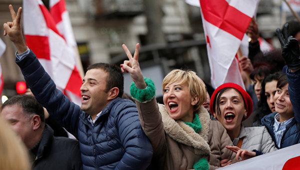 Митинг в поддержку Михаила Саакашвили в Грузии