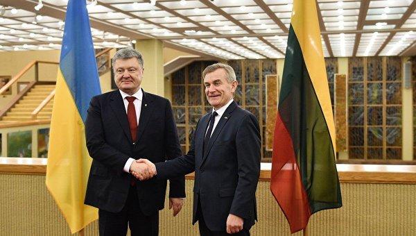 Петр Порошенко провел встречу со спикером литовского Сейма Викторасом Пранцкетисом