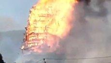 В Китае сгорела самая высокая пагода в мире. Видео
