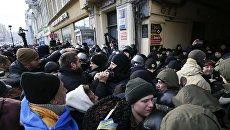 Стычки активистов с нацполицией под судом, где будет избираться мера пресечения Михаилу Саакашвили